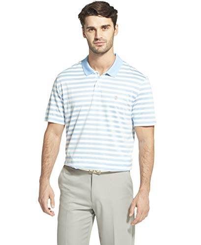 IZOD Men's Golf Clubhouse Short Sleeve Stripe Polo, Placid Blue, Small
