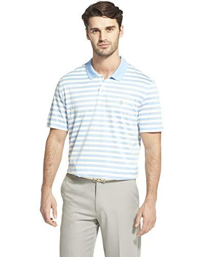IZOD Men's Golf Clubhouse Short Sleeve Stripe Polo, Placid Blue, Medium