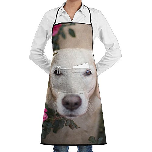RZ GMSC Novelty Golden Retriever Roses Kitchen Chef Apron With Big Pockets - Chef Apron For Cooking,Baking,Crafting,Gardening And BBQ
