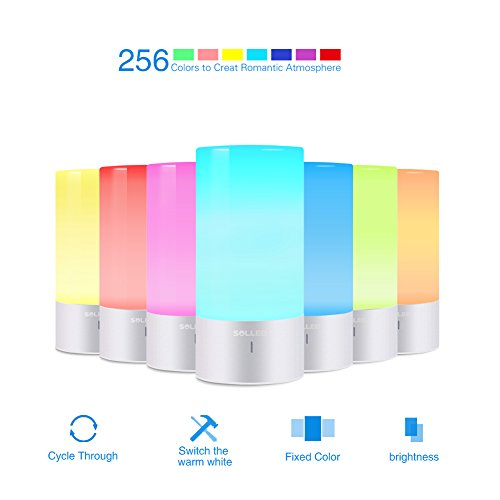 SOLLED LED Table Lamp, Sensor Touch Bedside Lamp, Dimmable Warm White Night Light, RGB Color Changing Modern Desk Lamp Nightstand Lamp For Bedroom, Plug-in