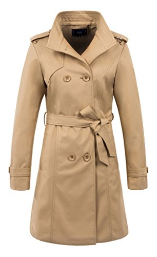 ZSHOW Women's Pea Coat Lady's Breasted Trench Coat Lapel Jackets With Belts(US (Designer Trench Coat)