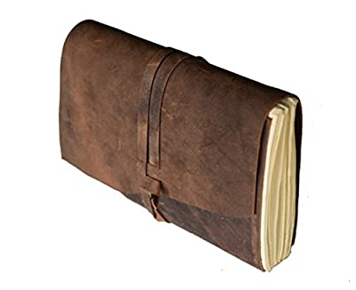 Leather Journal Writing Notebook, Antique Handmade Leather Bound Daily Notepad for Men & Women