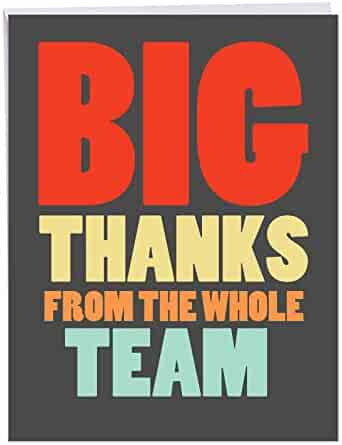 NobleWorks - Big Thanks From The Team - Coworker Gratitude Thank You Greeting Card with Envelope (Big 8.5 x 11 Inch) J6884TYG-US