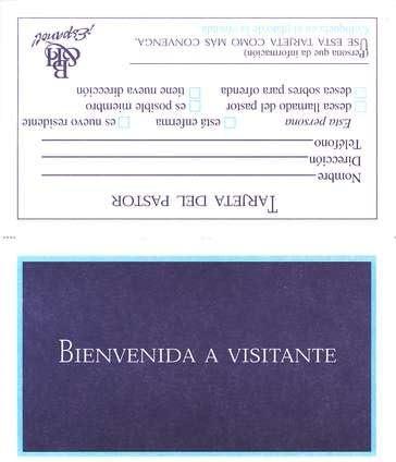 Formulario Wv-7: Tarjeta Bienvenida a Visitante, Paq. De 100 (Form Wv-7: Welcome Visitor Card, Pack of 100)