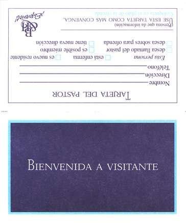 Formulario Wv 7 Tarjeta Bienvenida A Visitante Paq De 100 Form Wv 7 Welcome Visitor Card Pack Of 100