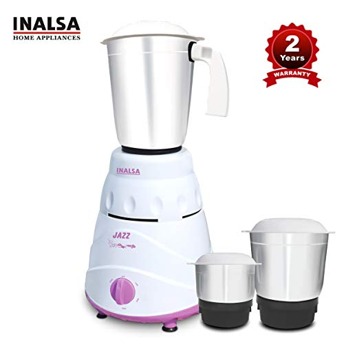 Inalsa Mixer Grinder Jazz -550W with 1.2 Stainless Steel Liquidizer Jar, 0.8L Multi-Purpose Jar, 0.4L Chutney Jar, Sturdy and Strong, Triple-Speed Settings with Pulse Function, (White/Purple)