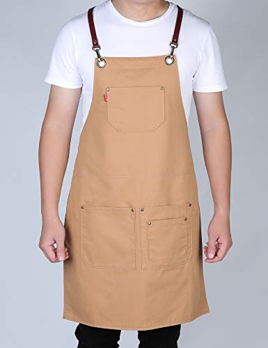 VANTOO Professional Double-side Colors Dual Use Cotton Apron with 4 Pockets for Men Women, Artist Painting Salon Shop Restaurant Apron- Adjustable Leather Neck & Waist Strap (OliveDrab & Burlywood) by VANTOO (Image #1)