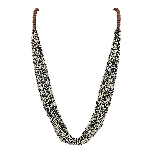 Bocar Long Multiple Row Handmade Beaded Statement Necklace with Gift Box (NK-10407-black White) -