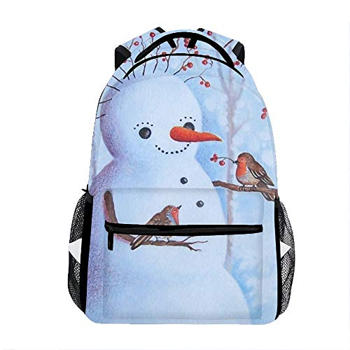 Backpacks Female knapsack Daypack Lightweight College Bags School Bookbag Casual fashion Happy Snowman Backpacks ()