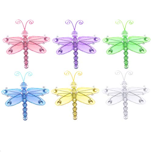 """Bugs-n-Blooms Nylon Dragonflies Pack Of 6-3"""" Assortment Mini Hanging Wire Mesh Organza Dragonfly Decor Wedding Party Table Scrapbook Craft Card Girls Bedroom Baby Nursery Home Wall Decorations by"""