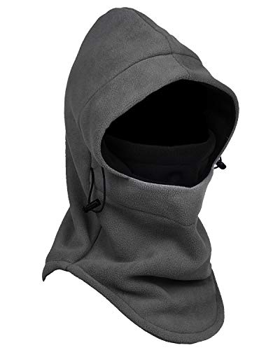 Tahbilk Balaclava Fleece Hood,Heavyweight Cold Weather Winter Motorcycle,Windproof Ski Mask,Ski&Snowboard Gear (Grey+Black)