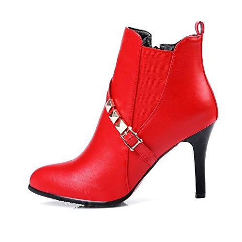 AgooLar Damen Spitz Zehe Hoher Absatz Weiches Material Rein Stiefel, Rot, 34
