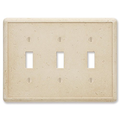 Questech Travertine Tumbled Textured Wall Plate/Switch Plate/Outlet Cover (Triple Toggle Switch)