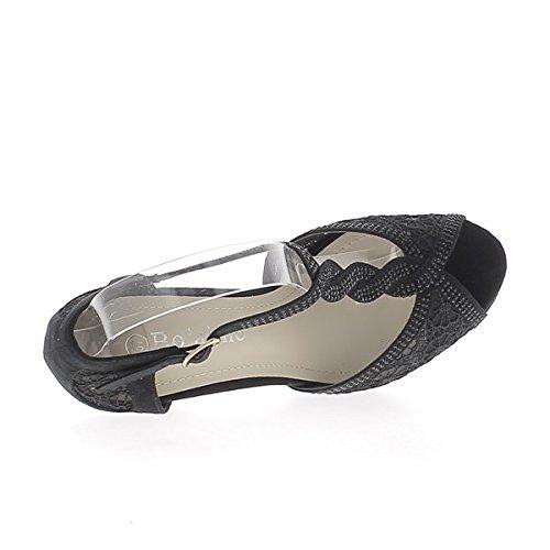 mujer diamantes cm tacón aguja de de de 11 negro de zapatos imitación 5 5XnPUxwqpv