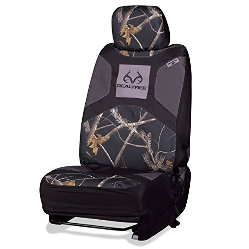Realtree Low-Back Black Camo Bucket Seat Cover (Realtree APC Camo, Durable Microfiber Fabric, Includes Headrest Cover, Sold Individually)