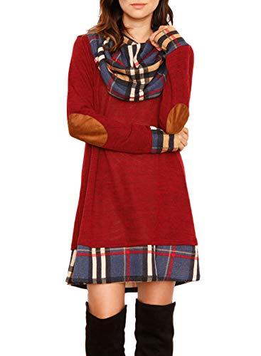 Eytino Women Long Sleeve Drape Scarf Neck Plaid Patchwork Casual Tunic Dress,Small Red