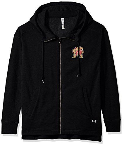 Under Armour NCAA Maryland Terrapins Womens NCAA Women's Full-Zip Fleece Hood, Medium, Black