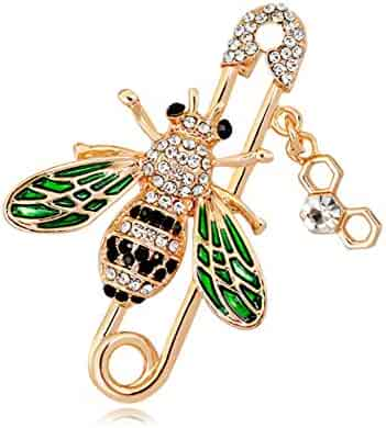 12a33b097 Lovely Honey Bee Brooch Pin Crystal Cubic-Zirconia Enamel Lapel Pin Suit  Sweater Scarves Gift