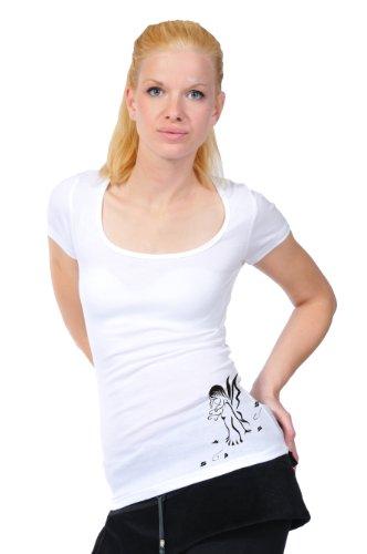 3elfen licencia Top Mujer corta redondo de Camisa Blanco Ropa de Negro Verano camisa hadas manga Cuello con rv1EqrxwF5