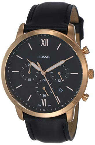 Fossil Men's Neutra Chrono Stainless Steel Quartz Watch with Leather Calfskin Strap, Black, 20 (Model: FS5381)