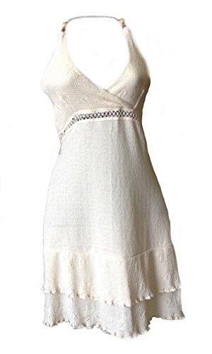 Damen Baumwolle Neckholder Sommer Kleid Weißes Biobaumwolle Knielanges Alpacaandmore Pima ökologische 100 tzwqRPxO