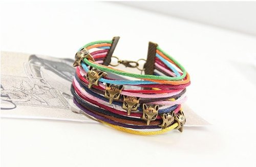 Cotton Rope Rainbow (Rainbow Cotton Paraffined Rope Fox Head Adjustable Bracelet Wristband Comes with Wooden Textured Charms for Good Luck & Repel Evil)