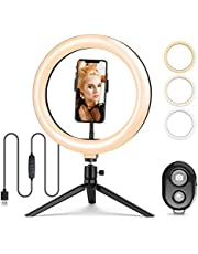 """10.2"""" Selfie Ring Light with Tripod Stand and Cell Phone Holder, 3000K-6500K Dimmable Led Camera Ring Light with Bluetooth, Led Camera Beauty Ringlight for YouTube and TikTok Live Stream/Makeup"""