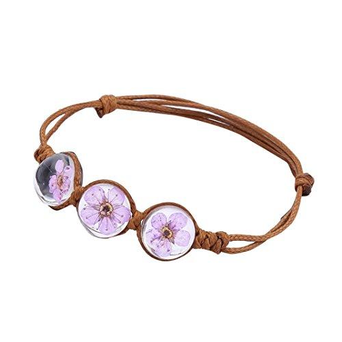 Handmade Silver Bangle - ARINLA Handmade Bracelet Soft Rope Bracelets Blossom Flower Crystal Wedding Jewelry