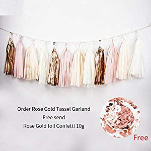 1set Tissue Beige Rose Gold Pink Garland Paper Tassels Contains 15 Tassels (3 Bags) Wedding Bridal Shower Birthday Party Decor 32