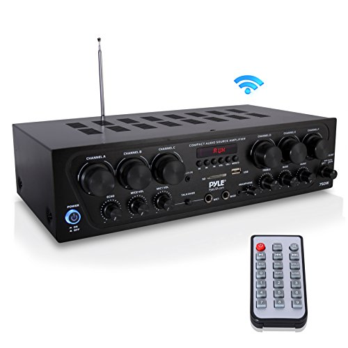 (Bluetooth Home Audio Amplifier System - Upgraded 2018 6 Channel 750 Watt Wireless Home Audio Sound Power Stereo Receiver w/ USB, Micro SD, Headphone, 2 Microphone Input w/ Echo, Talkover for PA - Pyle)