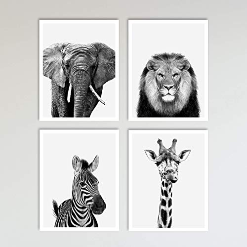 - 4 Piece Safari Zoo Animal Nursery Set - Elephant, Lion, Zebra & Giraffe Nursery Prints - Neutral Wall Decor, Baby Shower Gift & Kids Bedroom Animal Wall Decor 4 Piece Set, 11 x 14 inches each Unframed