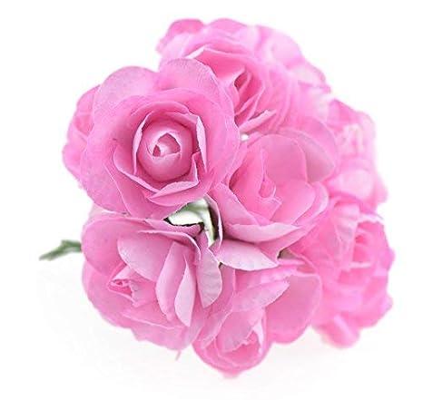 Fiveseasonstuff 144 Pzs Mini Artificiales Flores De Papel Decoraciones Boda Adornos Favores Arreglos Florales Proyectos De Artesanía Nupcial