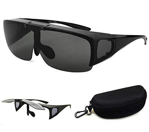 Cocoons Aviator Polarized Sunglasses - Bestum Driving Glasses Wraparounds Polarized Fitover Sunglasses (Matte black , Grey)