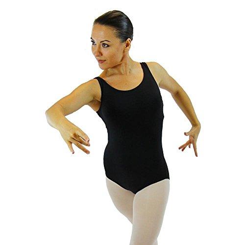 Nylon Tank Leotard (Danzcue Womens Nylon Tank Ballet Cut Leotard, Black, Small)
