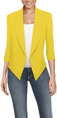 Hybrid & Company Womens Casual Work Office Open Front Blazer Jacket with Removable Shoulder Pads Made in
