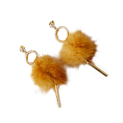 (skoqjFQSen Elegant and All Match Women Fashionable Pompom Soft Fur Ball Pendant Long Earrings Dangle Jewelry - Yellow,Perfect Eye-catching Equipment and Gift )