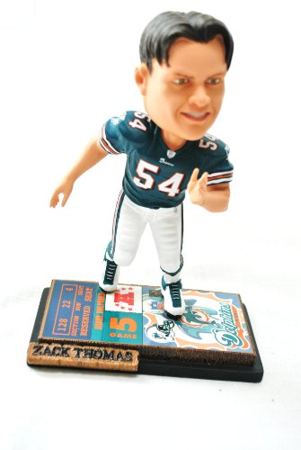 Miami Dolphins Official NFL #54 Zach Thomas rare ticket base action Bobble Head by forever