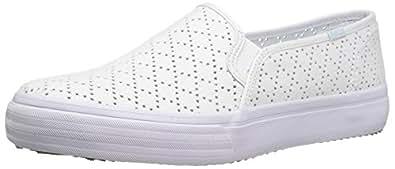 Keds Women's Double Decker Perf Canvas Fashion Sneaker, White, 5 M US