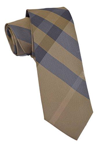 Burberry London Men's Rohan Olive Brown Check Plaid 100% Silk Neck Tie