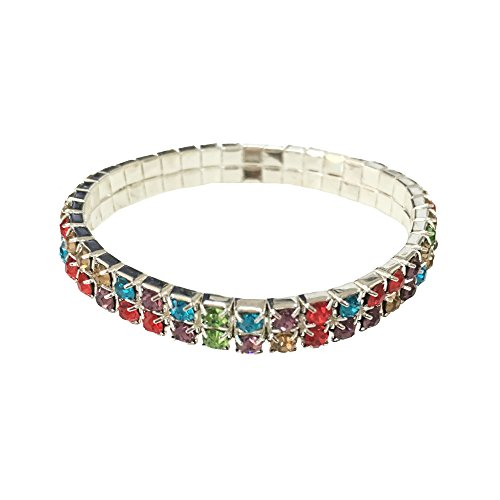 ACVIP Elastic Stretchy Rhinestone Crystal Bracelet Bangles Wedding Bridal Jewellery (2 (Multi Colored Rhinestone Bracelet)