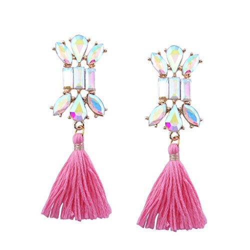 Beuu Long Tassel Earrings Fashion Bohemian Women Fringe Dangle Jewelry Jewelry Earring Women'S Fashion Women Earrings Stud Elegant Silver Classics Pearl Dangle Sterling (Classic Ball Fringe)