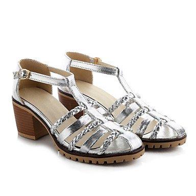 LvYuan Tacón Robusto-Confort Innovador D'Orsay y Dos Piezas-Sandalias-Vestido Informal-Cuero Patentado Materiales Personalizados-Blanco Plata Oro White