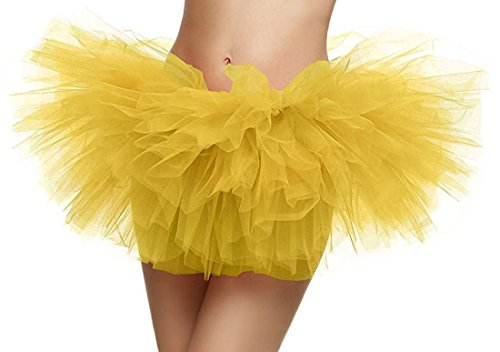 Tutu for Women Retro 5 Layers Tulle Cosplay Costume Dance Tutu Skirt,Yellow Tutu
