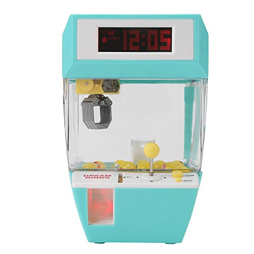 AYNEFY Mini Claw Machine, 2 in 1 Electronic Creative Claw Crane Machine Toy, LCD Display Alarm Clock Indoor Arcade Gams with Sounds, Coins and Balls as Gift for Boys Girls(Green)