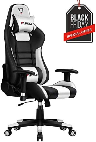 Furgle Gaming Chair Racing Style Office Chair High-Back w 3D Adjustable Armrest PU Leather PC Computer Chair Swivel Executive Task Chair with Headrest and Lumbar Support Black White