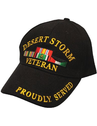 EAGLE EMBLEMS, INC Military Veteran Proudly Served in Desert Storm Baseball Style Hat Cap,Black,One ()