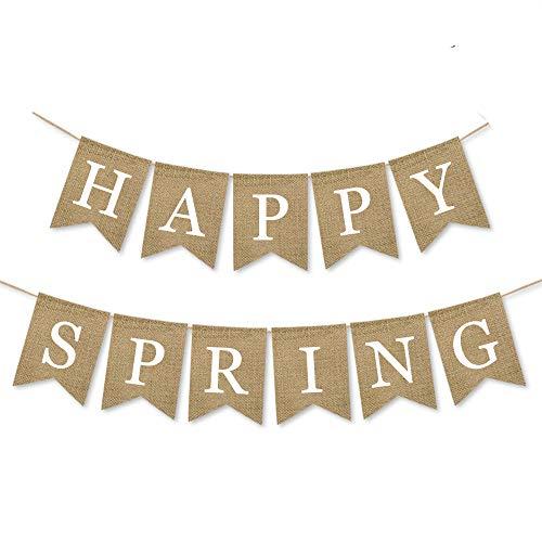 Rainlemon Rustic Jute Burlap Happy Spring Banner Mantel Fireplace Bunting Garland -