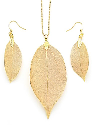 Cloris Tautou Long necklace for Women Pendant Necklace Gold Bohemian Boho Fashion Jewelry Earrings and Necklace Set Natural Leaf Necklace for Her for Girlfriend Wife Girls