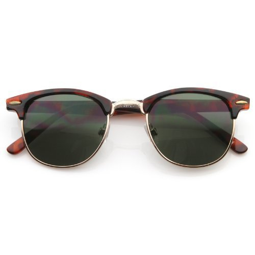 Classic Half Frame Vintage Retro Classic Sunglasses Horned Rim (Demi/Smoke, - Rim Semi