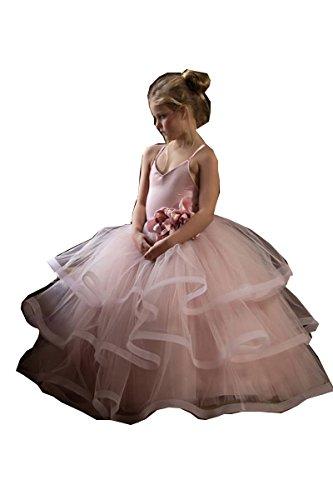 Kelaixiang Blush Spaghetti Party Princess Ball Gown Dress For Girls (4) by Kelaixiang